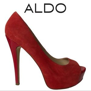 Aldo Red Suede Stiletto Platform Shoe Size 38